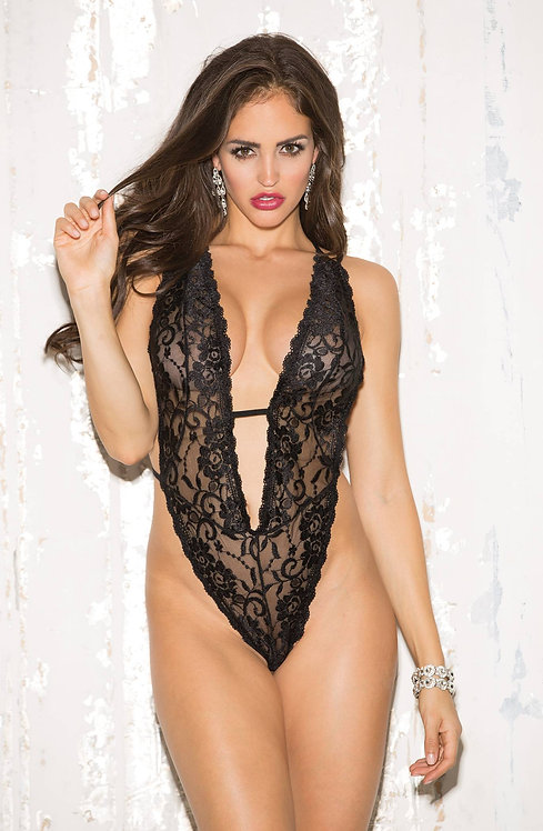 Shirley of Hollywood Lace Teddy Black