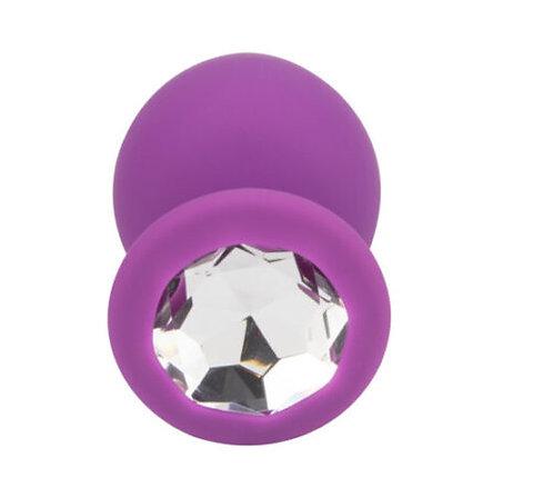Loving Joy Jewelled Silicone Butt Plug Purple -Large