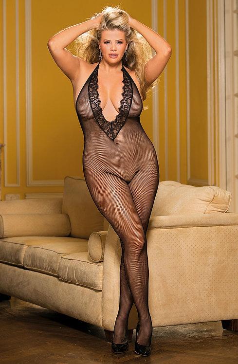 Plus Size Fishnet & Eyelash Lace Bodystocking Black