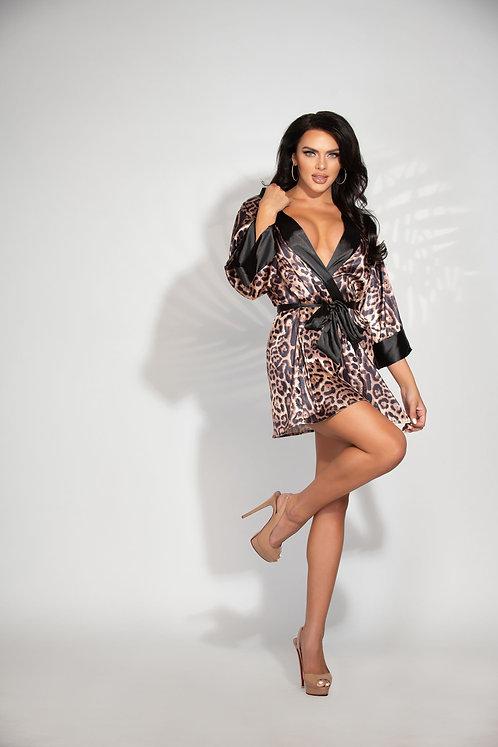 Seven 'Til Midnight Leopard Print Satin Robe With Sash
