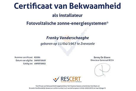 Vannec RESCERT certificaat