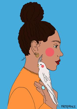 Maite Prince - Cockatiel friend portret