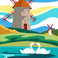 'The Windmills and the Swans' Print