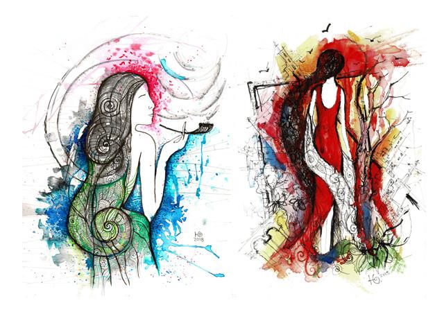 DRAWINGS(watercolors, ink)