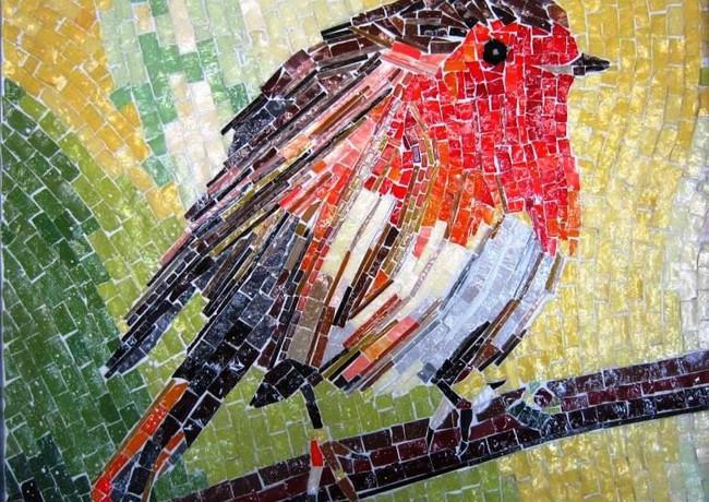 Mozaïek van het bekende Nederlandse vogeltje, de Roodborst.