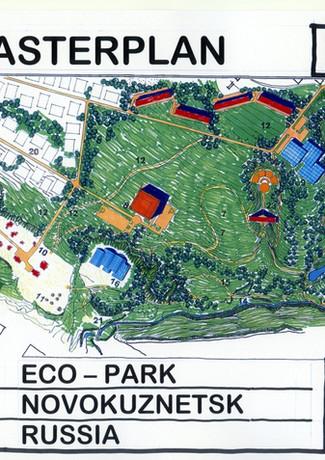 Ecologisch park met talloze speciale gebouwen in Novokusnetsk, Midden Siberië, Rusland.
