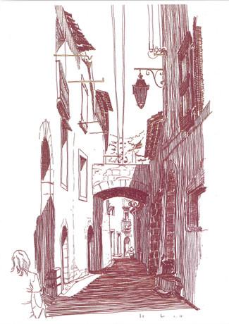 Klein straatje in St. Guiliem de Herault, Frankrijk.