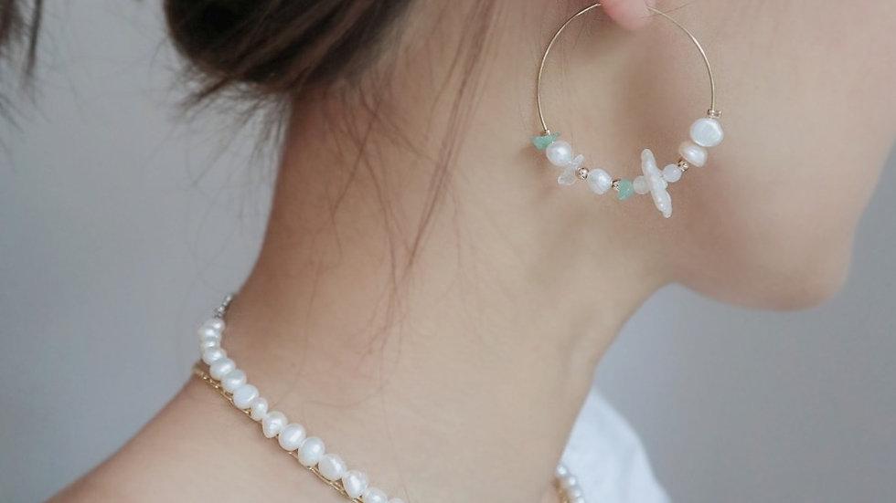 Garden Pearl Hoop Earrings
