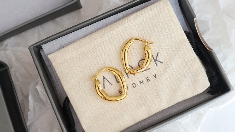 Draw Gold Plated Silver Hoops