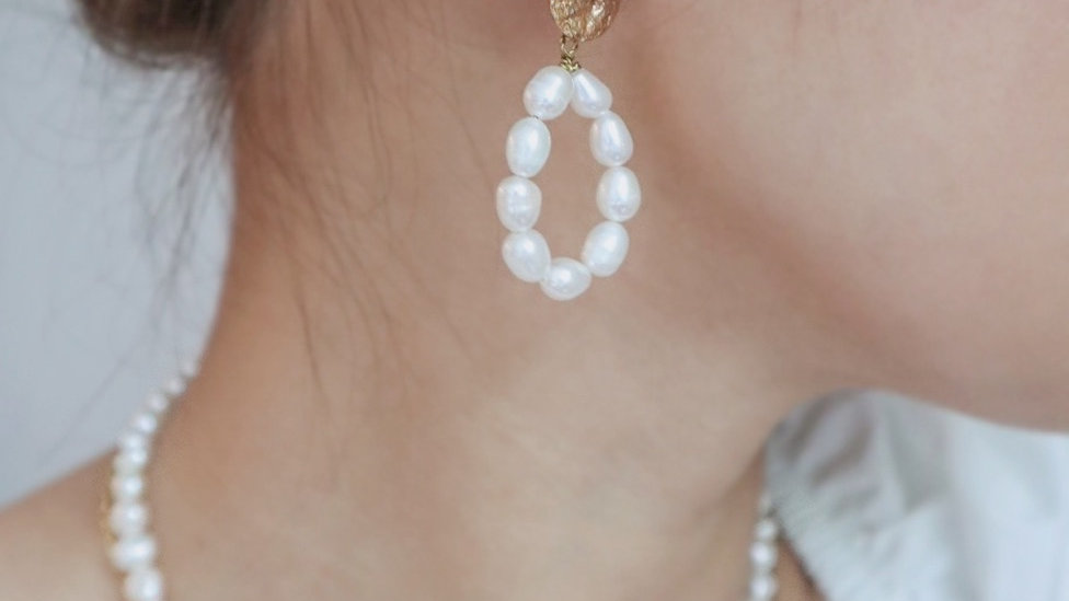 Foil Pearl Drop Earrings