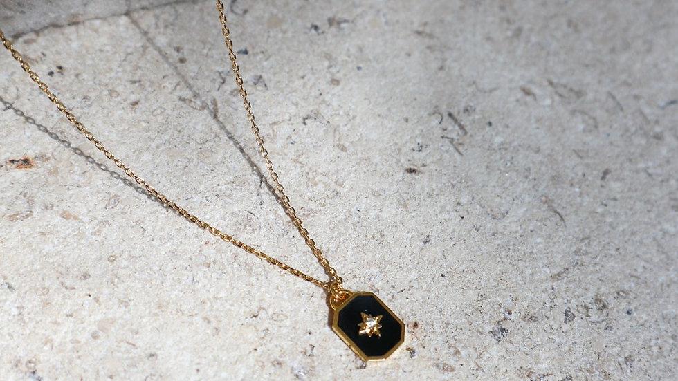 The Star Black Enamel Silver Necklace