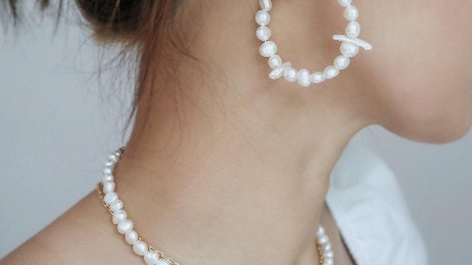Winter Pearl Hoop Earrings