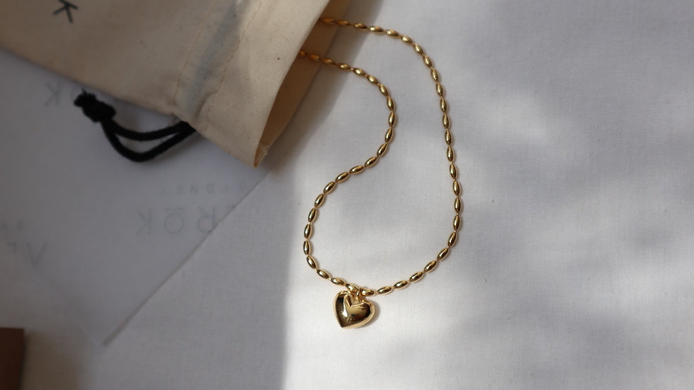 Silver Heart Bullet Chain Necklace