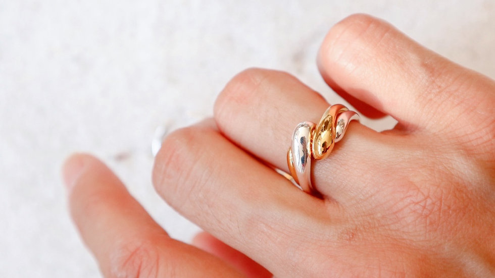 Two Tone Dual Sterling Silver Ring Set