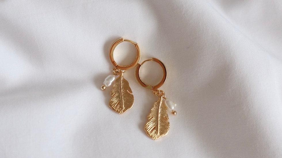 Leaf + Pearl Huggie Hoop Earrings