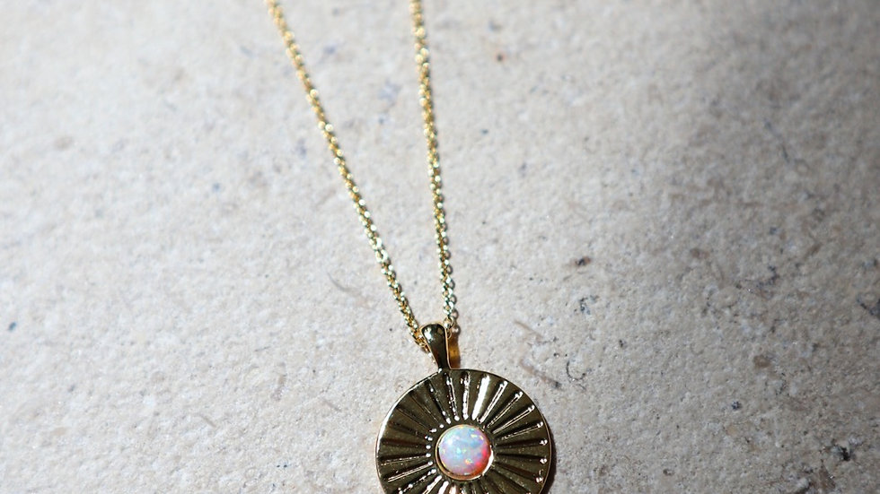 Opal Stardust Coin Long Chaub Silver Necklace