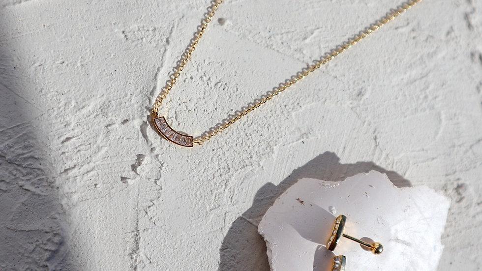 Curve Baguette Necklace & Piercings Set