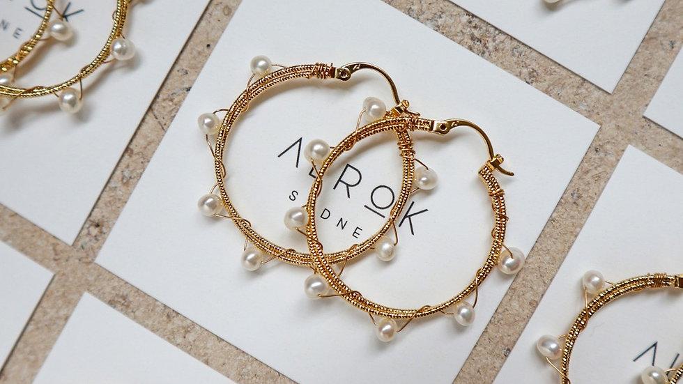 Wire Wrapped Pearl Hoop Earrings