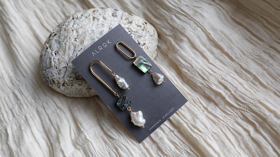 Paua Shell Unbalanced Earring