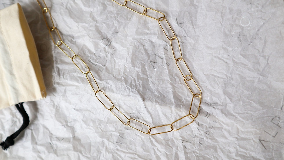 Textured Link Chain Silver Necklace