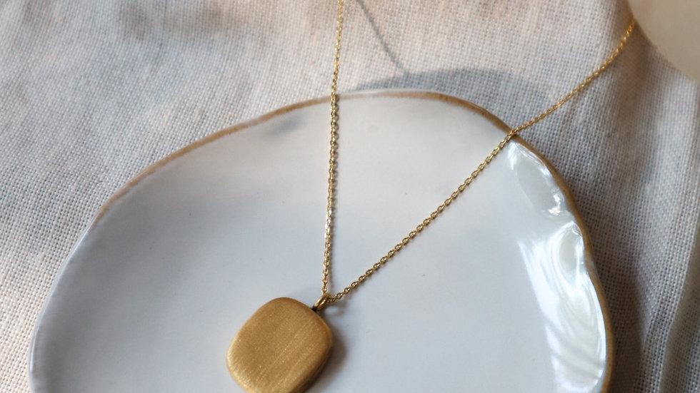 Matt Rectangular Pendant Silver Necklace