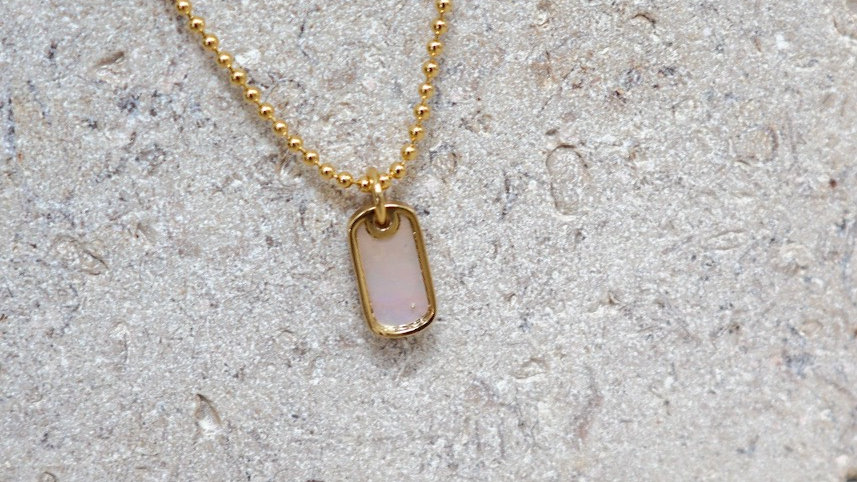 Ball Chain Mother of Pearl Pendant Silver Necklace