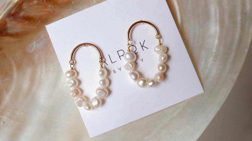 Evelyn Oval Pearl Link Earrings