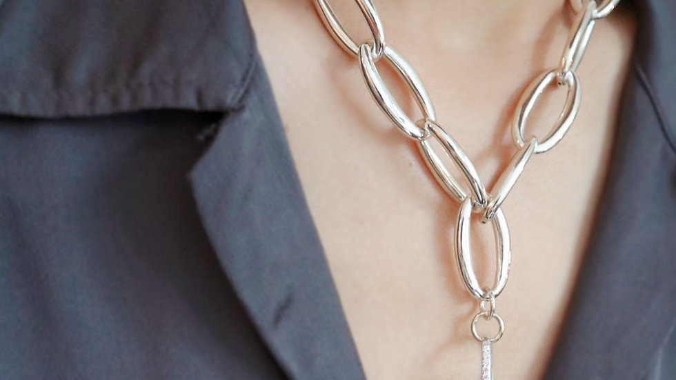 Chunky Chain Rock Crystal Silver Necklace