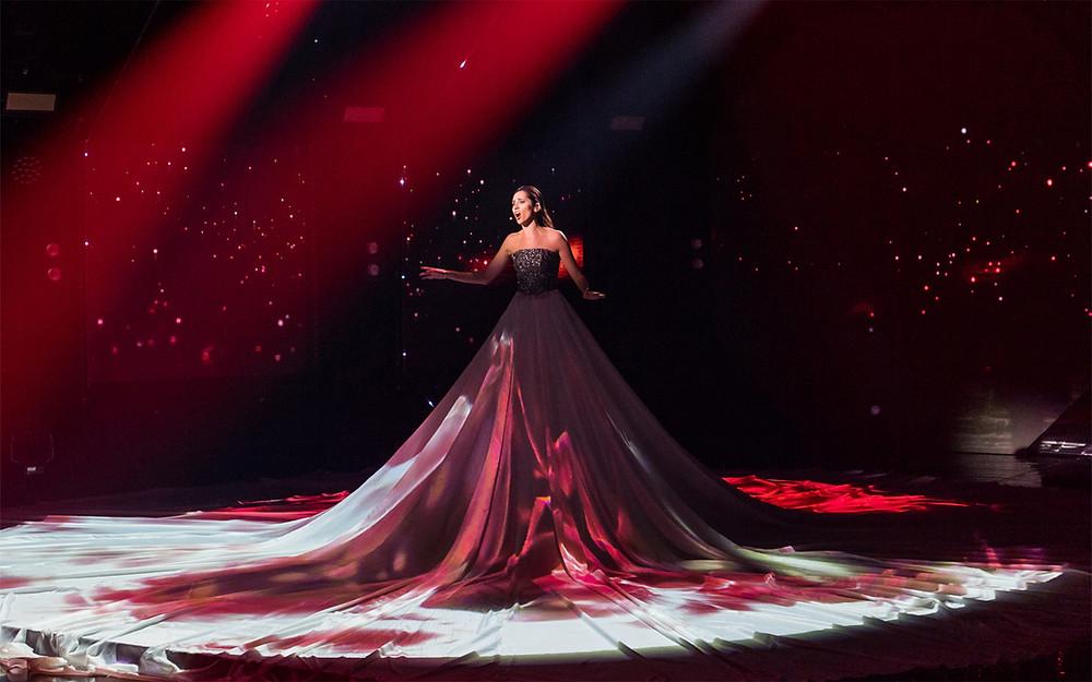 Elina Nechayeva singing for Estonia at Eurovision 2018