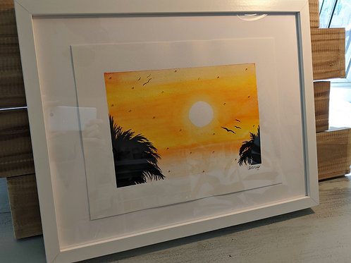 """Orange Island Sky"" Framed Original Watercolor (17""x13"")"