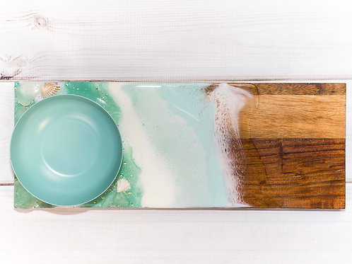 Resin Ocean Waves on Wooden Tray with Candy Bowl
