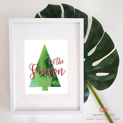 Tis The Season Watercolor Tree 8x10 Print