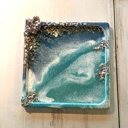 "9""x9"" Beachside Ocean Jewelry Tray w/Coral Ring Holder"