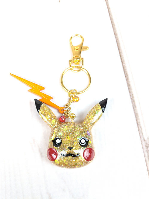 Cute Pikachu Resin Pokemon Keychain with Jewels & Electric Embellishments