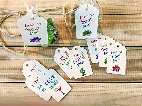 """Taco 'bout Love"" Foil Bridal Shower Favor Tags"