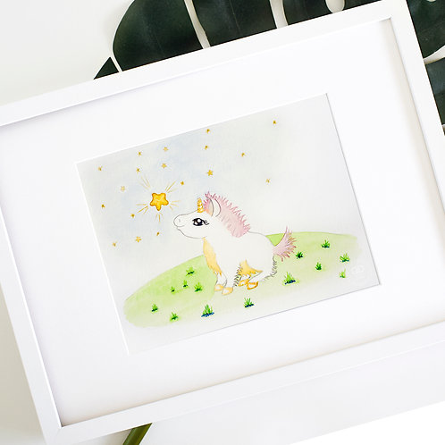 Starry Night Unicorn Watercolor Print