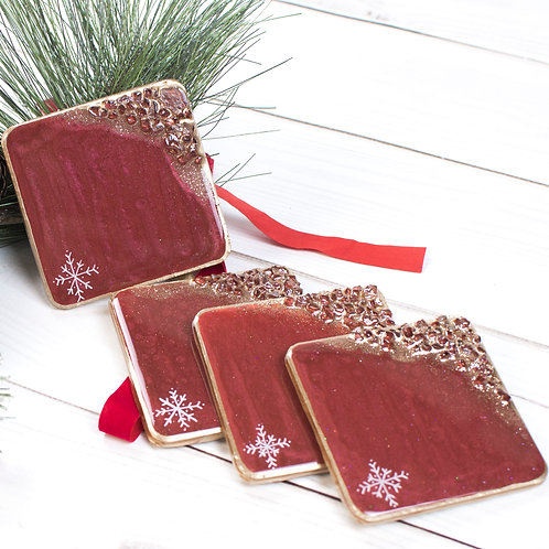 "Red Snowflake Christmas Coasters - Set of 4 w/Round Corners (4"" x 4"")"