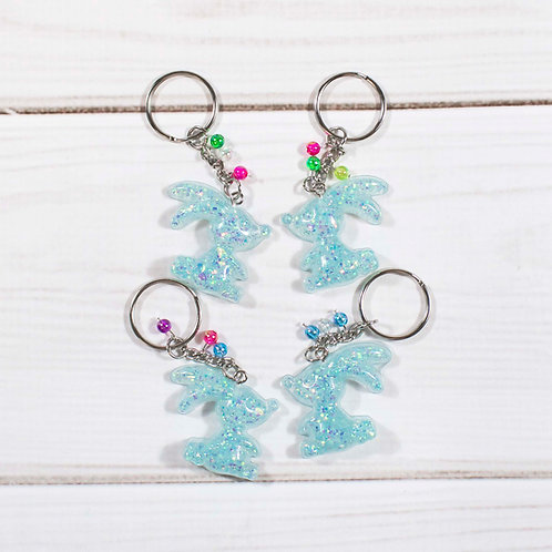 Handcrafted Teal Glitter Bunny Keychain