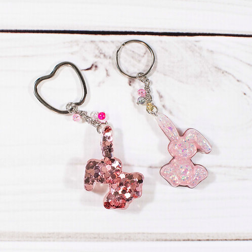 Handcrafted Dusty Pink Glitter Bunny Keychain