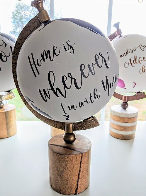 """""""Home is Wherever I'm With You"""" Handpainted Anniversary Globe in Navy & Gray"""
