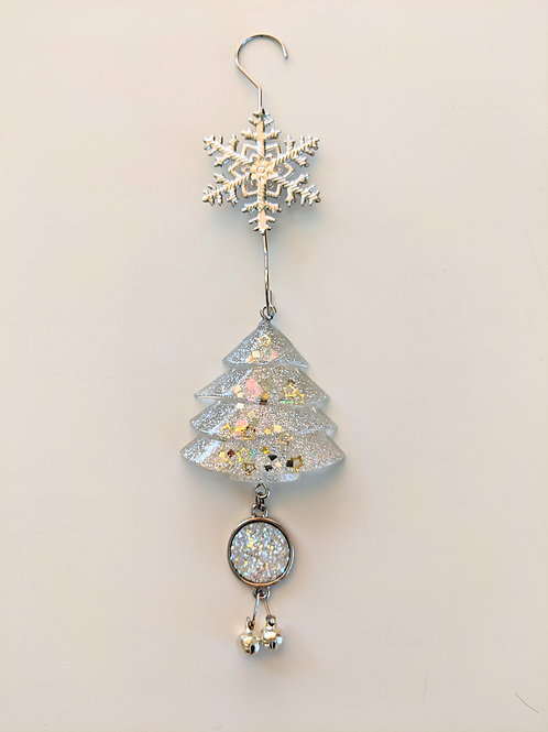 Clear Resin Shimmery Tree Ornaments w/White Snow Druzy & Silver Bell Charms