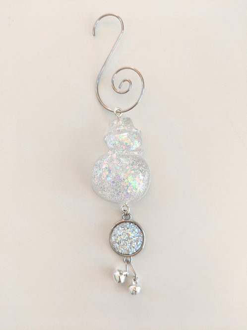 Clear Resin Shimmery Snowman Ornaments w/Hat, White Snow Druzy & Bells