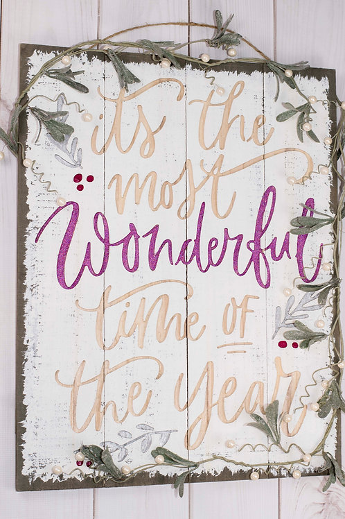 Rustic Wonderful Time of Year Sign in Berry Glitter