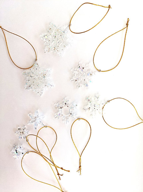 Clear as Ice Mini Snowflake Ornaments - Set of 8