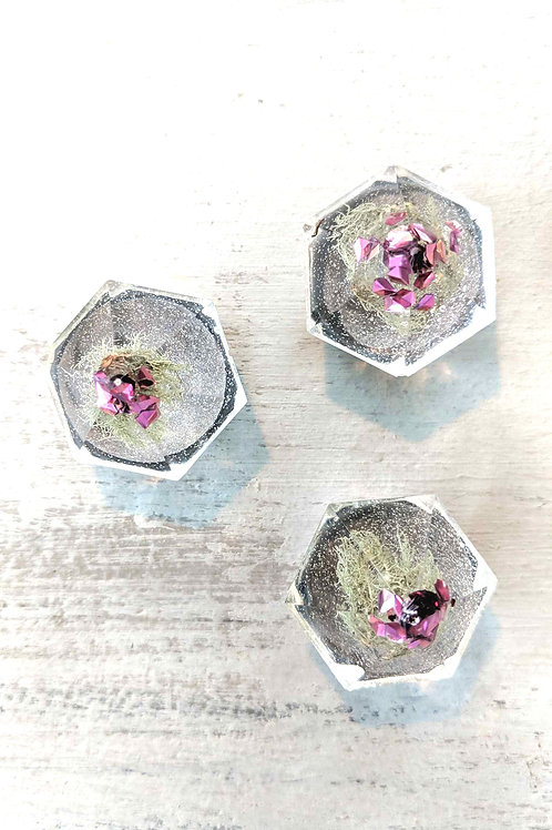 Set of 3 Diamond Shaped Resin Magnets with Air Plant & Pink Glitter Accents