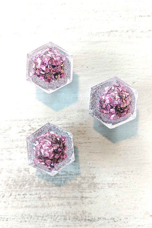Set of 3 Pink Diamond Resin Magnets with Pink Glitter Mix