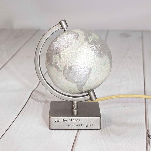 Handpainted Light Up Glitter Globe Lamp / Nursery Nightlight