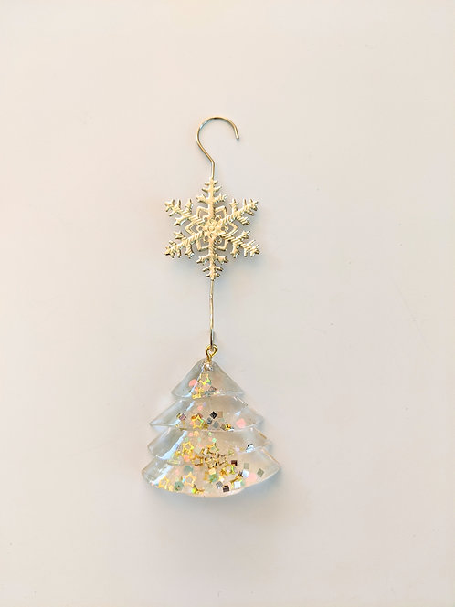 Clear Resin Shimmery Gold Tree Ornaments