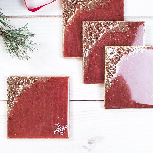 "Red Snowflake Christmas Coasters - Set of 4 w/Square Corners (4"" x 4"")"