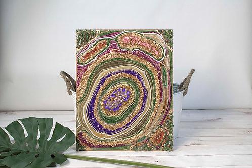 "Purple, Emerald, & Gold ""Royalty"" Geode"
